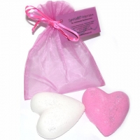 Badeherzen - weiss & rosa