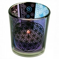 Flower of Life Set Windlicht und Edels..