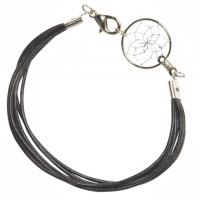 Armband Leder schwarz mit Traumfänger