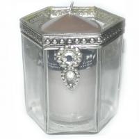 Kerzenglas mit Kerze vintage-taupe