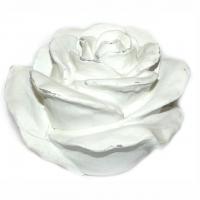 Rose Keramik weiss lasiert Vintage Look