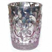 Windlicht Glas lila mit Ornament