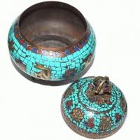 Gefäss  Ø 13,5 cm Tibetan Dorje mit Tü..