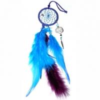 Traumfänger Magie blau 5 cm mit Bergkristall