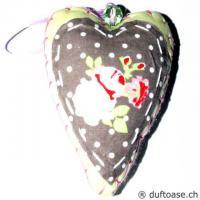Herz Romantic Stoff braun