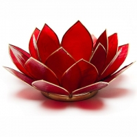 Erstes Chakra Lotus Teelichthalter rot