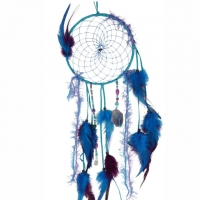 Traumfänger Magie türkisfarben mit Amethyst B 15,5cm - L 56cm