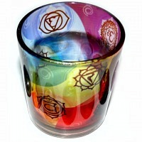 Chakra-Set Chakra-Balance mit Teelichtglas