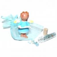 Schutzengel mit Aquamarin-Kristallen (Banderole in Händen)
