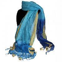 Boho-Schal türkis-blau mit Pompons & Fransen