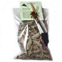 Set Weisser Salbei Blätter 25g mit Räucherfeder