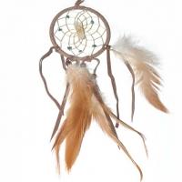 Traumfänger Visionen-Sucher braun mit Bergkristall & Türkis B 7,5 cm - L 32 cm