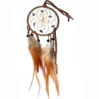 Traumfänger Visionen-Sucher braun mit Bergkristall & Amethyst B 7,5 cm - L 32 cm