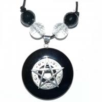 Hexen-Amulett mit Pentagramm & Onyx-Pi-Scheibe