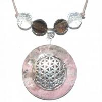 Blume des Lebens Amulett mit Rhodonit, Bergkristall und Rauchquarz
