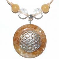 Blume des Lebens Amulett mit Eisenkiesel