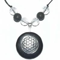 Blume des Lebens Amulett mit Schungit, Bergkristall und Lava
