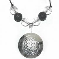 Blume des Lebens Amulett mit Turmalinquarz, Bergkristall und Lava