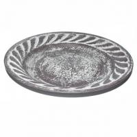 Schale flach Metall antikbraun