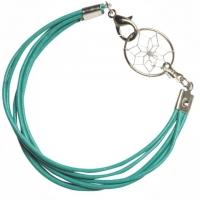 Armband Leder türkisfarben mit Traumfänger