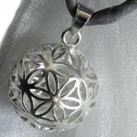 Blume des Lebens Anhänger-Kugel aus Silber