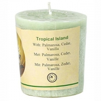 Duftkerze Tropical Island Palmarosa, Zeder, Vanille