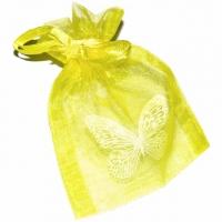 Organzabeutel Schmetterling gelb 7 x 9,8 cm