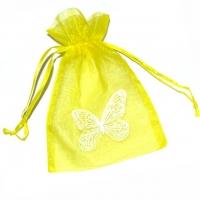 Organzabeutel Schmetterling gelb 10 x 15 cm