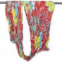 Hippie-Flower Schal rot-gelb-türkis-weiss