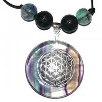 Blume des Lebens Amulett mit Regenbogenfluorit