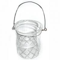 Laterne Glas mit Metallbügel Retrolook