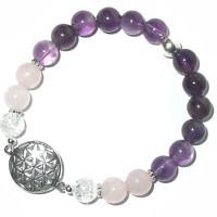 Armband Blume des Lebens Amethyst-Bergkristall-Rosenquarz