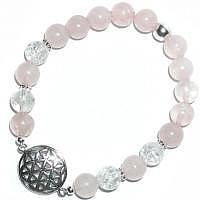 Armband Blume des Lebens Rosenquarz-Bergkristall