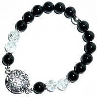 Armband Blume des Lebens Turmalin schwarz-Bergkristall