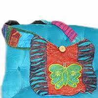 Hippie-Tasche mit grünem Schmetterling