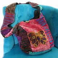 Hippie-Tasche mit braunem Schmetterling