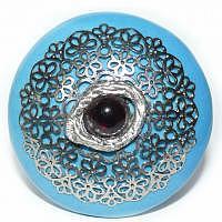 Möbelknopf Oriental Dreams türkisfarben mit Ornamentverzierung