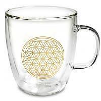 Doppelwandiges Teeglas mit Blume des Lebens Energiesymbol