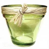 Glas Deko-Topf grün