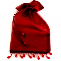 Organzabeutel rot Zierperlen