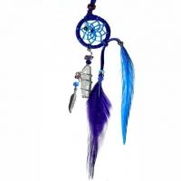 Traumfänger Magie blau mit Bergkristall & Amethyst B 2,5cm - L 20cm