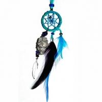 Traumfänger Magie türkisblau mit Bergkristall & Amethyst B 2,5cm - L 20cm