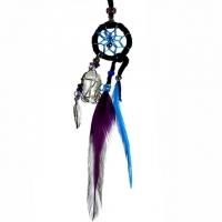 Traumfänger Magie schwarz mit Bergkristall & Amethyst B 2,5cm - L 20cm