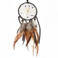 Traumfänger Visionen-Sucher braun dunkel mit Bergkristall & Amethyst B 7,5 cm - L 32 cm