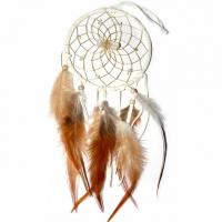 Traumfänger Visionen-Sucher weiss mit Bergkristall & Citrin B 10 cm - L 36 cm