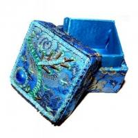 Brokat-Döschen Ø 5 cm türkisblau