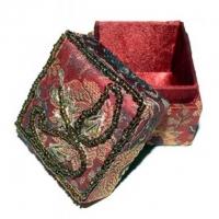 Brokat-Döschen Ø 5 cm rot - verziert mit Blattmotiv