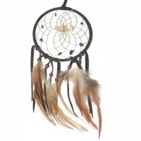 Traumfänger Visionen-Sucher braun dunkel mit Bergkristall & Tigerauge B 10 cm - L 36 cm