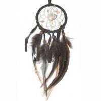 Traumfänger Visionen-Sucher braun dunkel mit Bergkristall & Citrin B 6,5 cm - L 28 cm