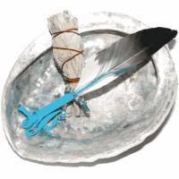 Räucherset Feder türkis mit Abalone ca. 12,5-15,5 cm und White Sage